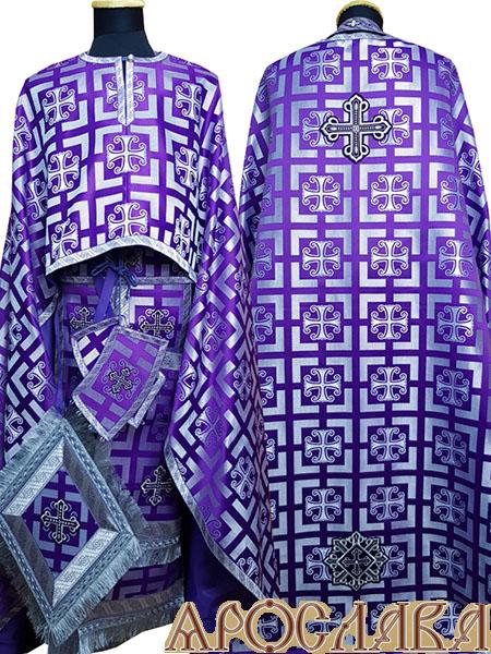 АРТ476. Риза греческий крой, шелк Каппадокия, отделка цветной галун (фиолетовый с серебром).