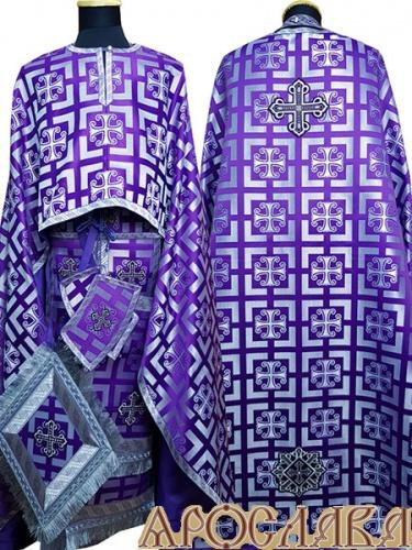 АРТ476. Риза греческий крой, фиолетовый с серебром шелк Каппадокия, отделка цветной галун (фиолетовый с серебром).