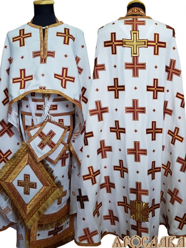 АРТ478. Риза греческий крой, белый с красными крестами, греческий шелк Прямой крест, отделка цветной галун (бордовый с золотом).