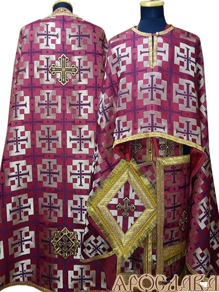 АРТ480. Риза греческий крой, бордовая с золотом парча Архаик, отделка цветной галун (бордовый с золотом).
