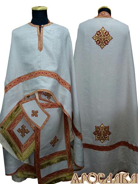 АРТ484. Риза греческий крой, белый лен, отделка цветной галун (красный с золотом). На фелони дополнительный галун шириной 4см.