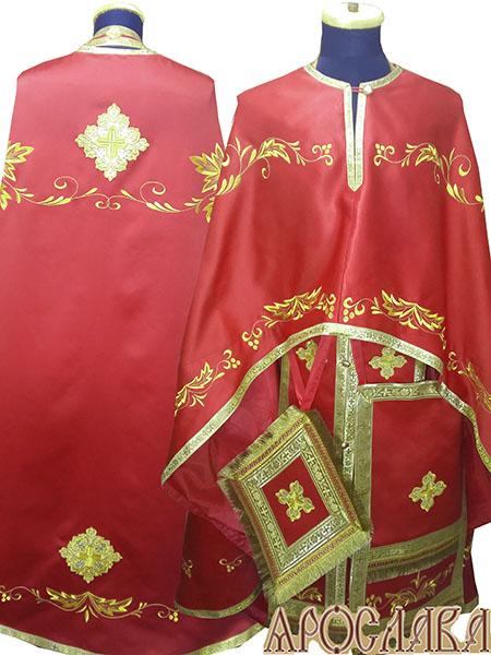 АРТ488. Риза греческий крой, однотонный атласный шелк, вышивка рисунок Благородный, обыденная отделка (цвет золото).