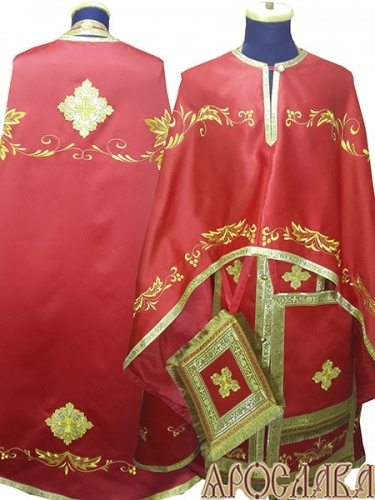 АРТ488. Риза греческий крой, красный однотонный атласный шелк, вышивка рисунок Благородный, обыденная отделка (цвет золото).