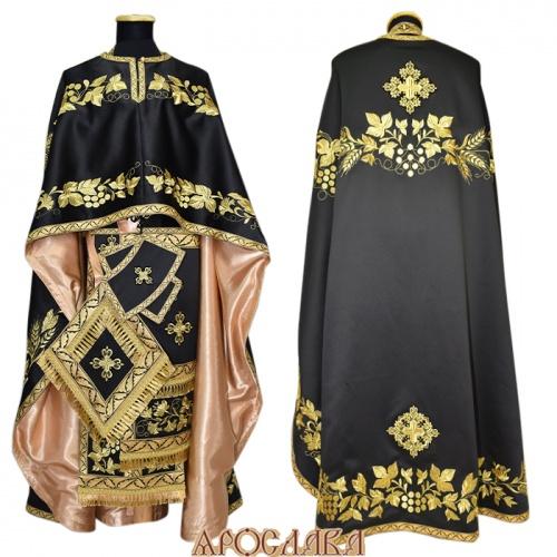 АРТ491. Риза греческий крой, черный однотонный атласный шелк, вышивка рисунок Корнилий, отделка цветной галун (черный с золотом), подклад золотой креп-сатин