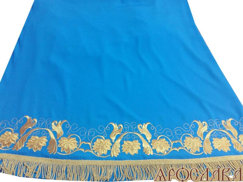 АРТ524. Подризник вышитый рисунок Эдем. Цвет ткани голубой.  Витая бахрома.