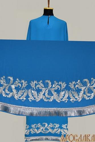 АРТ573. Подризник вышитый рисунок Листовой. Ткань голубая.