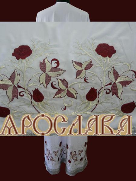 АРТ576. Подризник вышитый рисунок Терновник с розой.