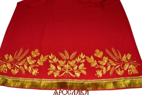 АРТ580. Подризник вышитый рисунок Корнилий. Ткань красная.
