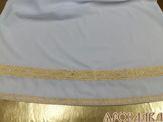 АРТ601. Подризник с отделкой цветным галуном рисунок Афон (белый с золотом). Ширина галуна 1,7см и 4см.