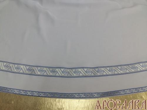 АРТ603. Подризник с отделкой цветным галуном рисунок Дубок (голубой с серебром). Ширина галуна 1,7см и 4см.