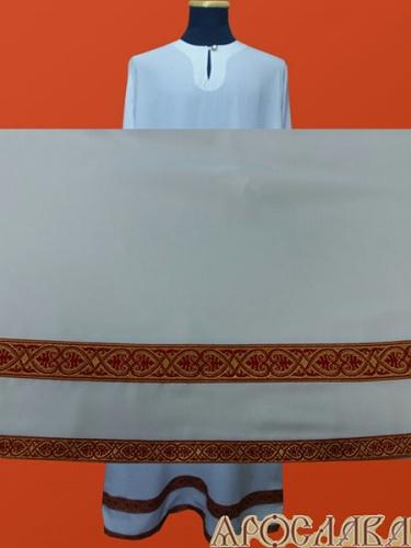 АРТ606. Подризник с отделкой цветным галуном рисунок Афон (бордовый с золотом). Ширина галуна 1,7см и 4см.