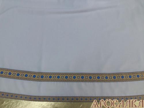 АРТ607. Подризник с отделкой цветным галуном рисунок Горошина (синий с золотом). Ширина галуна 1,7см и 4см.