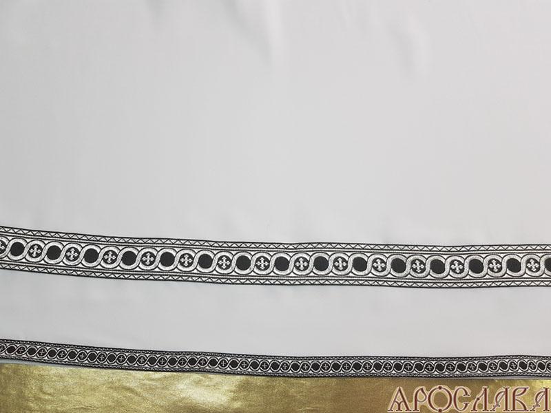 АРТ611. Подризник с отделкой цветным галуном рисунок Горошина (черный с серебром). Ширина галуна 1,7см и 4см.