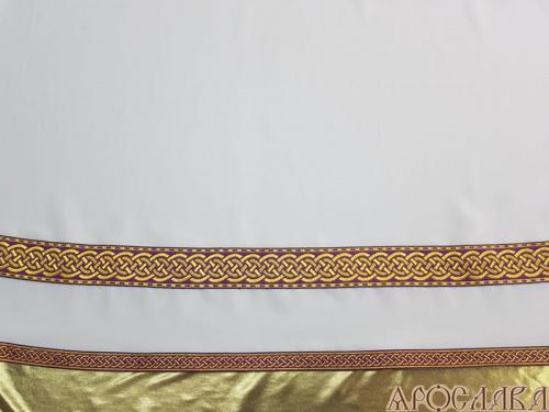 АРТ612. Подризник с отделкой цветным галуном рисунок Плетеный (фиолетовый с золотом). Ширина галуна 1,7см и 4см.