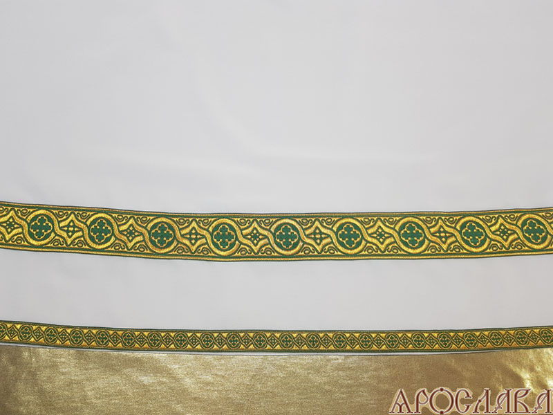 АРТ614. Подризник с отделкой цветным галуном рисунок Орнамент (зеленый с золотом). Ширина галуна 1,7см и 4см.