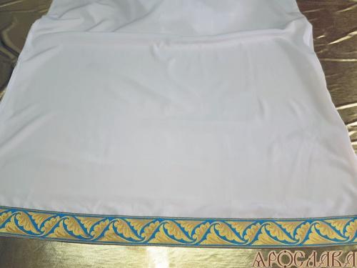 АРТ618. Подризник с отделкой цветным галуном рисунок Листок (голубой с золотом). Ширина галуна 6см.