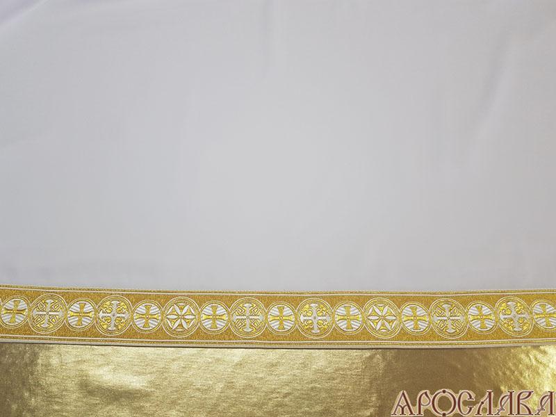АРТ619. Подризник с отделкой цветным галуном рисунок Георгиевский (белый с золотом). Ширина галуна 6см.