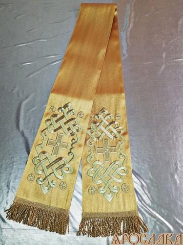 АРТ621. Заклада в Евангелие с вышивкой рисунок Византийский. Однотонная парча.