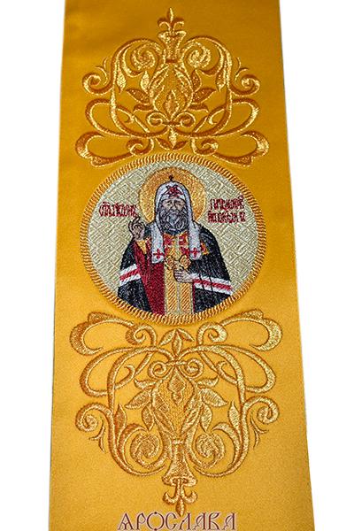 АРТ623. Заклада в Евангелие с вышитой иконой свт.Тихона Патриарха Московского.