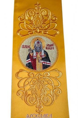 АРТ623. Заклада желтая в Евангелие с вышитой иконой свт.Тихона Патриарха Московского.
