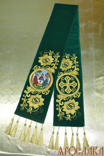 АРТ628. Заклада в Евангелие зеленая, рисунок вышивки Кострома, с вышитой иконой свт.Троицы. Низ украшен кистями.