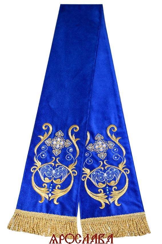 АРТ643. Заклада в Евангелие темно-синий бархат с вышивкой рисунок Эдем. Расшита натуральными камнями:жемчуг, циркон