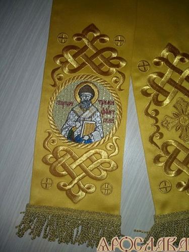 АРТ644. Заклада Евангелие вышитый рисунок Византийский, с вышитой иконой свт.Спиридона Тримифунтского.