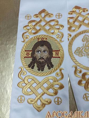 АРТ646. Заклада Евангелие вышитый рисунок Византийский, с вышитой иконой Cпас Нерукотворный образ.