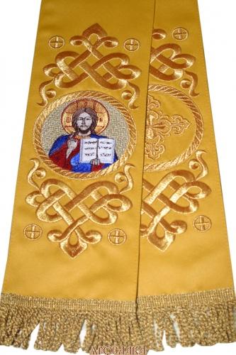 АРТ651. Заклада Евангелие вышитый рисунок Византийский, с вышитой иконой Господь Вседержитель.
