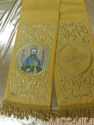 АРТ653. Заклада Евангелие вышитая рисунок Эфес, с вышитой иконой свт.праведный Иоанн Кронштадтский.