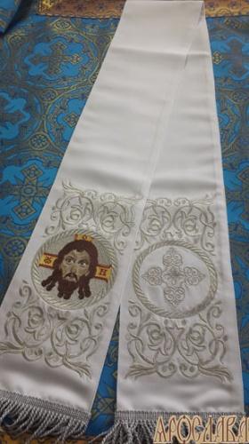 АРТ657. Заклада Евангелие вышитая рисунок Эфес, с вышитой иконой Спас Нерукотворный образ.