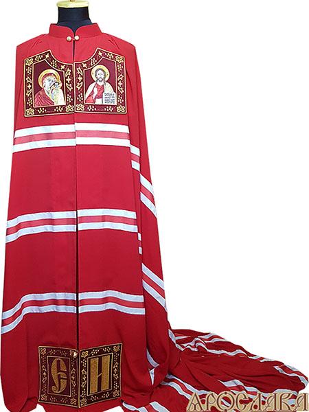 АРТ692. Архиерейская мантия. Вышитые иконы Казанская Божия Матерь, Господь Вседержитель, инициалы. Ткань плотный шелк.