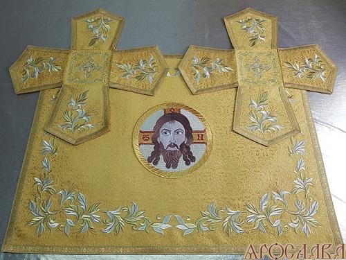 АРТ719. Покровцы вышитые Канитель. Вышитая икона Спас Нерукотворный образ.