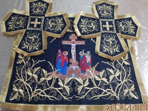 АРТ728. Покровцы вышитые Терновый венец увеличенный. Вышитая икона Распятие.