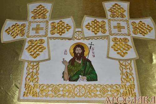 АРТ747. Покровцы вышитые Византийский. С вышитой иконой свт.Иоанна Предтеча.