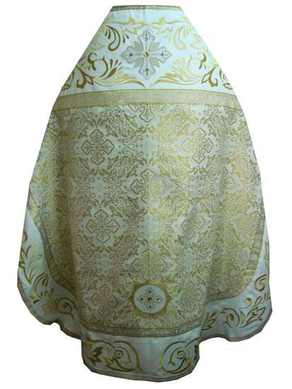 АРТ776. Риза бело-золотая парча Алтайский. Комбинированная с вышивкой рисунок Алтайский: власяница, надставка, окошки епитрахили, низ набедренника.