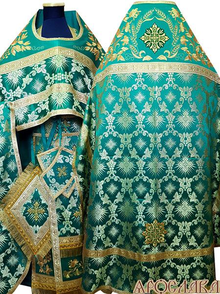 АРТ777. Риза зеленый шелк Терновый венец. Комбинированная с вышивкой рисунок Корнилий: власяница, окошки епитрахили, низ набедренника.