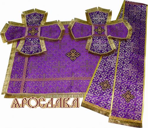 АРТ792. Комплект покровцы и заклада в Евангелие шелк Афон, отделка цветной галун, бахрома.