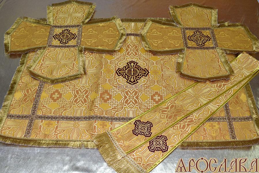 АРТ797. Комплект покровцы и заклада в Евангелие шелк Византийский, отделка цветной галун, бахрома.