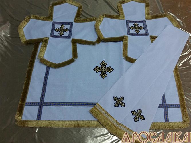 АРТ800. Комплект покровцы и заклада в Евангелие лен, отделка цветной галун, бахрома.