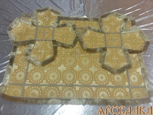 АРТ804. Покровцы шелк Мирликийский крест мелкий, отделка тесьма, бахрома.