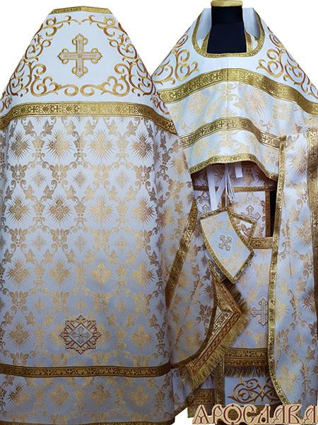 АРТ811. Риза белый шелк Терновый венец. Комбинированная с вышивкой рисунок Византия: власяница, окошки епитрахили, низ набедренника.