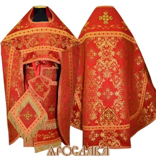 АРТ812. Риза красная парча Слуцкий. Комбинированная с вышивкой рисунок Благородный: власяница, окошки епитрахили, низ набедренника.