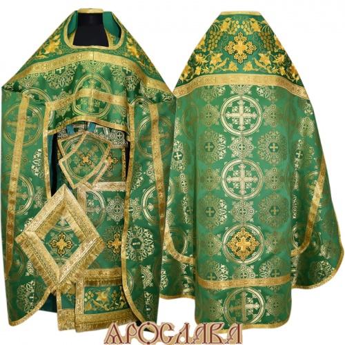 АРТ817. Риза зеленый шелк Карпатский. Комбинированная с вышивкой рисунок Элегия: власяница, окошки епитрахили, низ набедренника.