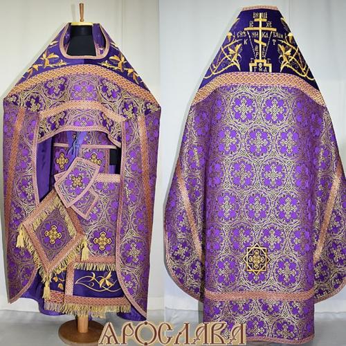 АРТ818. Риза фиолетовая парча Колокольный звон. Комбинированная с вышивкой рисунок Терновый венец увеличенный: власяница, окошки епитрахили, низ набедренника.Вышитая Голгофа.