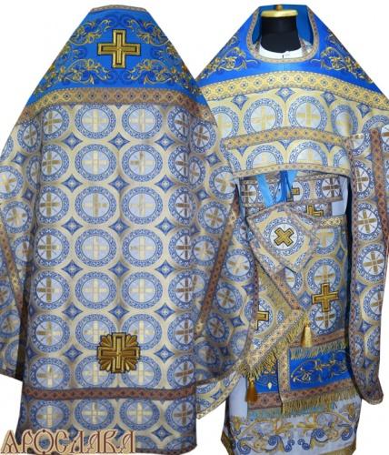 АРТ821. Риза голубой шелк Троицкий. Комбинированная с вышивкой рисунок Православный: власяница, окошки епитрахили, низ набедренника.