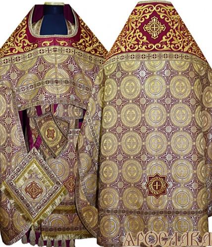 АРТ822. Риза желтая парча Коринф. Комбинированная с вышивкой рисунок Аксиос: власяница, окошки епитрахили, низ набедренника.