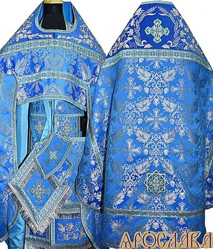 АРТ824. Риза голубая с серебром парча Курский. Комбинированная с вышивкой рисунок Корнилий: власяница, окошки епитрахили, низ набедренника.