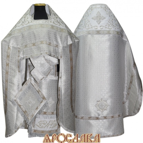 АРТ826. Риза белая с серебром парча Крещенский. Комбинированная с вышивкой рисунок Византийский: власяница, окошки епитрахили, низ набедренника.