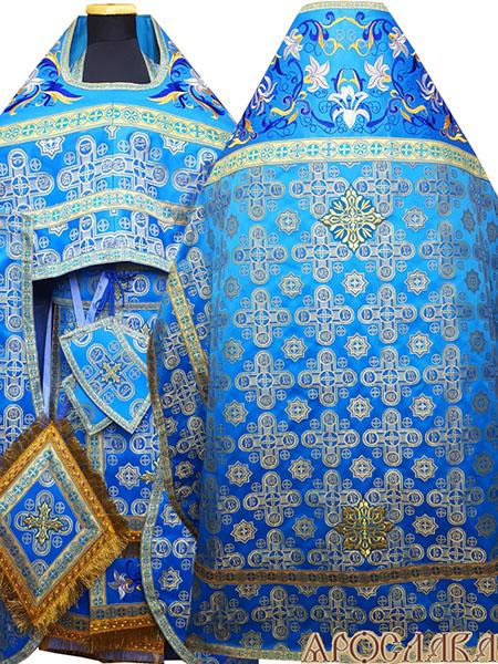 АРТ828. Риза голубой с золотом шелк Вифлеем. Комбинированная с вышивкой рисунок Лилия Мария: власяница, окошки епитрахили, низ набедренника.